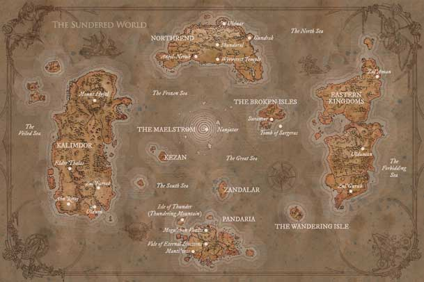 Azeroth after Sundering Azeroth Map Warcraft Chronicle small